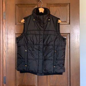 New York & Company Black Puff Vest Faux Fur Hood L